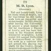 M. D. Lyon. (Somerset.).