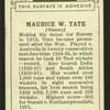 Maurice W. Tate.