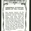 Christmas entertainments at the Palace.