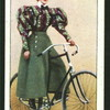 Lady cyclist wearing divided skirt.