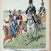 Niederlande. Die Belgische Regimenter der Niederländischen Armee: [l.to r.] Husaren-Offizier (Rgt. Nr. 6), Karabinier (Rgt. Nr. 2), Karabinier-Offizier (Rgt. Nr. 2), Offizier der leichten Dragoner (Rgt. Nr. 4), Leichter Dregoner (Rgt. Nr. 4).