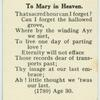To Mary in Heaven.