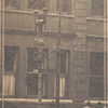 The taller pole in this picture is the one on which Brown was hanged: White spots on windows indicate bullet holes.