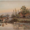 A print depicting a road, houses, barns, ducks, cows, horses with riders, wagons, trees and a pond with reflections.
