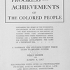 Progress and achievements of the colored people, title page