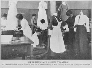 An artistic and useful vocation; A class receiving instructions in the art of dressmaking in the training school at Hampton Institute.