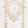 [Empire style. Clock intended to be executed in bronze doré with oblong base. Decoration with fruit and birds at top with a circular dial.]