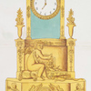 [Empire style. Clock, ornamented with center medallion showing a peacock flanked by two swans.]