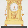 [Empire style. Clock in bronze doré placed on ebony base. With 3 classic figures below the dial and angels blowing trumpets.]
