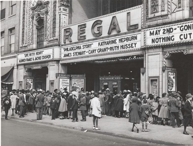The movies are popular in the Negro section of Chicago, Illinois, April 1941.