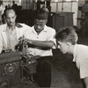 Negro and white N.Y.A. [National Youth Administration] youth workers in machine shop; Brooklyn Work Center