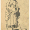 Peasant girl with hat and stick.