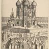 Pokrovskii sobor i lobnoe miesto. (po risunku Oleariia 1636 g.)