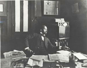 [W. E. B. Dubois in the office of The Crisis.]