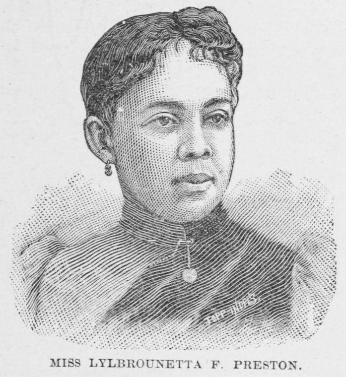 Miss Lylbrounetta F. Preston. Vocalist and Pantomimist.