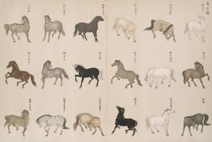 An illustration of horses.