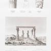 Gartass. Freistehendes Monument auf dem linken Nil-Ufer. A. Grundriss; B. Ansicht des Monuments und der Umgebung; C.D. Kapitäler; E. Sculptur und Inschriften auf den Säulen.