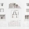 Tefah. A. Grundriss und B. Durchschnitt des Monuments nach Süden; C. Grundriss, D. Durchschnitt, E. Façade und F. Theile des nach Norden gelegenen Monuments.