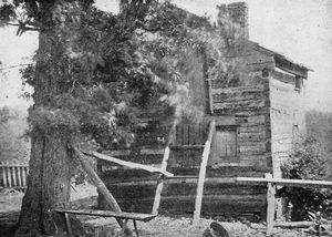 The house in Virginia where Booker T. Washington was born; [Still standing.]