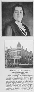 Miss Nell D. Calloway; Auditor of Public Accounts of the State of Illinois; Res., 3300 Rhodes Ave., Douglas 6466.