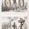 Marchand de cestes [cestos], paniers qui portent sur la tête; Nègres vendeurs de volaille.