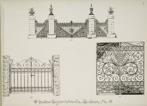 [Decorative metalwork gates.]