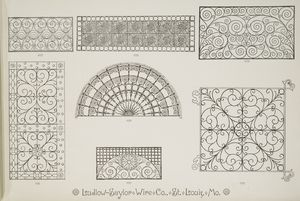 [Decorative metalwork grilles, fan grille, and hinged grille.]