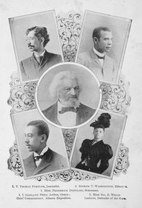 1. T. Thomas Fortune, journalist ; 2. Booker T. Washington, educator ; 3. Hon. Frederick Douglass, statesman ; 4. I. Garland Penn, author, orator, chief commissioner, Atlanta exposition ; 5. Miss Ida B. Wells, lecturer, defender of the race.