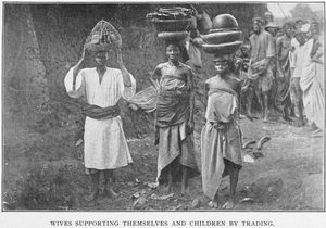 Wives supporting themselves and children by trading.