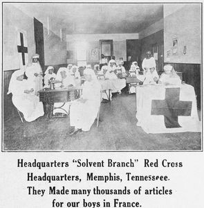 "Headquarters ""Solvent Branch""; Red Cross headquarters, Memphis, Tennessee; They made many thousands of articles for our boys in France."