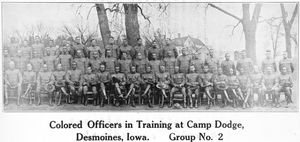 Colored officers in training at Camp Dodge; Desmoines, Iowa; Group No. 2.