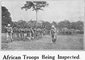 African troops being inspected.