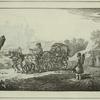 Voyageurs en Britchka, a 3 chevaux, en ete.