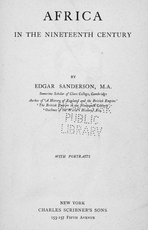 Africa in the nineteenth century, by Edgar Sanderson. [title page]