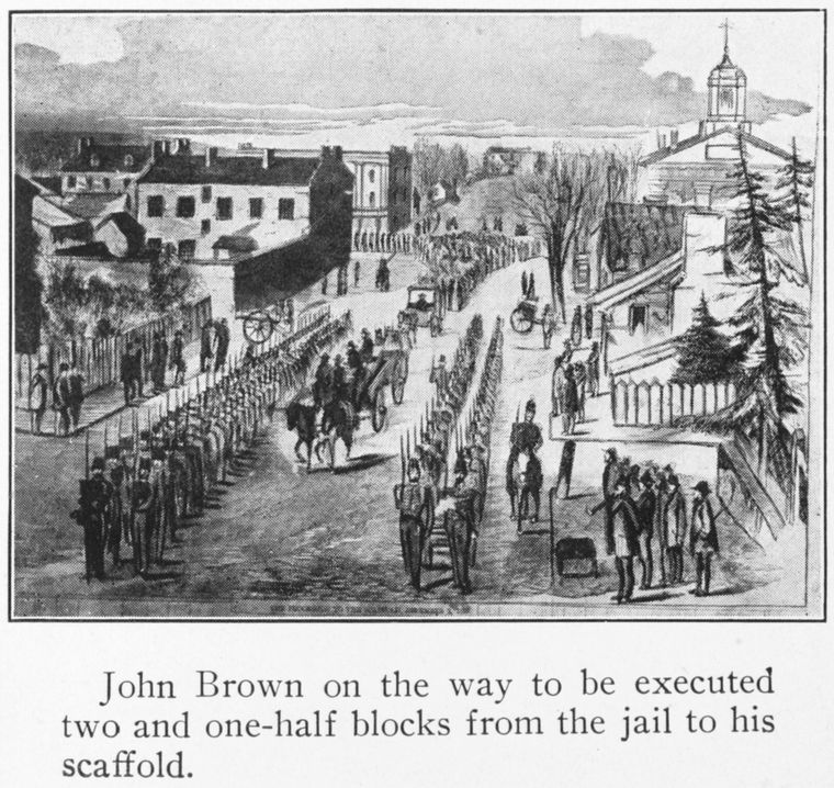John Brown on the way to be executed two and one-half blocks from the jail to his scaffold.