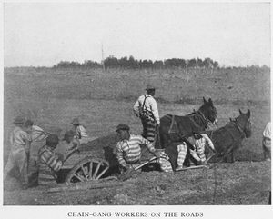 Chain - gang workers on the roads.