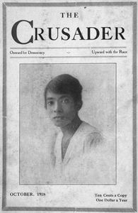 The Crusader; Onward for Democracy; Upward with Race; October, 1918; [Mrs. James Conick, Jr., New York State tennis champion; Vol. 1, No. 2; Cover page.]