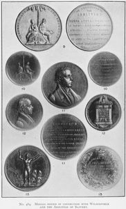 Medals issued in connection with Wilberforce and the abolition of slavery.