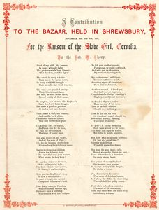 "[Anti-slavery poem; ""A contribution to the bazaar, held in Shrewsbury..."".]"
