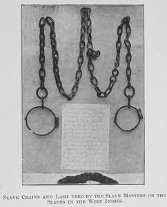 Slave chain and lash used by the slave masters on the slaves in the West Indies.