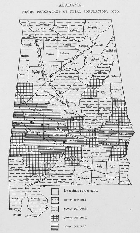 Alabama. Negro percentage of total population, 1900.
