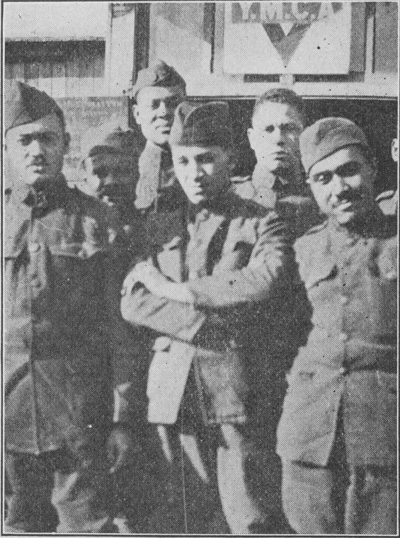 Group of soldiers, the majority of whom assisted in the work of education at Camp Lusitania, St. Nazaire, France.