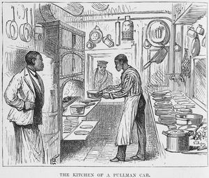 The kitchen of a Pullman car.