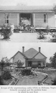 A type of the unpretentious cabin which an Alabama Negro formerly occupied and the modern home in which he now lives.