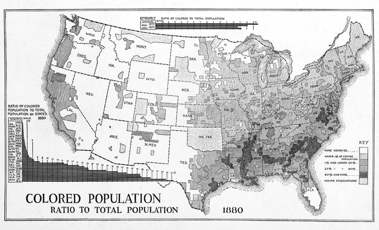 Colored population ratio to total population 1880.