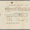"""Revolutionary War - Request for compensation to be paid to Nathaniel Seely for his slave, Amos Seely, who was killed in the Revolutionary War, 1783. Top reads """"pay-table office, July 30th, 1783..."""""""