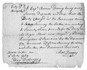 [Letter stating that a duty of 24 pounds was exacted on 6 slaves in New York signed by Thomas Doring.]