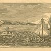 [View of fugitive slave Thomas M. Jones, escaping on a raft from the brig ship Bell offshore from New York City.]