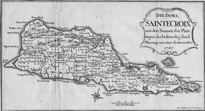 Die insel Saintecroix mit den Namen der Plan tagen die bestaendig sind. Plantage mit einer Zuckermuhle. 1767.