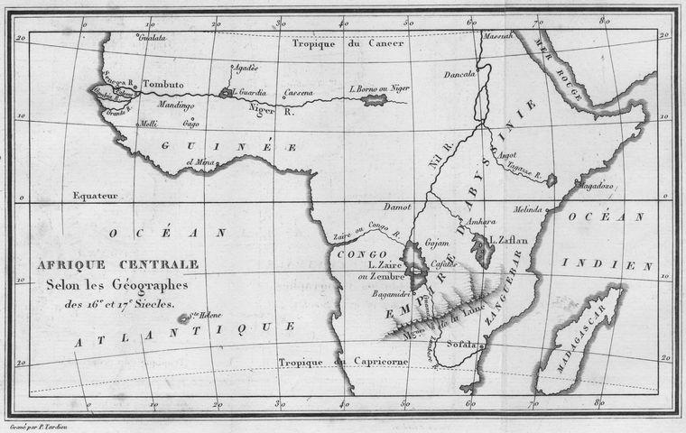 Afrique Centrale Selon les Geographes des 16 et 17 Siecles.